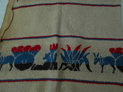 "Antique Flat Weave Fabric Laundry Pin Bag vtg Textile unused 32"" x18"""