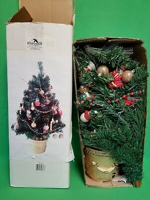 "Kurt S Adler 21"" Lighted & Decorated Tabletop Christmas Tree  - VGC"
