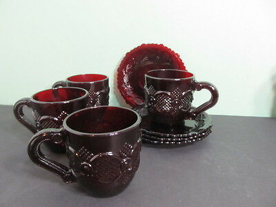 Lot of 4 Avon 1876 Cape Cod Collection Cups and Saucers Ruby Red Glass