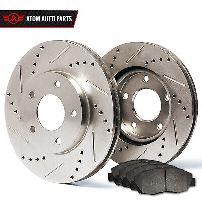 2011 2012 BMW X6 xDrive 50i Slotted Drilled Rotor & Metallic Pads Front
