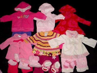 55 USED BABY GIRL NEWBORN 0-3 3-6 MONTHS Fall WINTER CLOTHES LOT Free Shipping