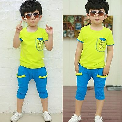 Toddler Baby Boy Infant Kids T-shirt Top+Pants Trousers Clothes Outfits Set 110