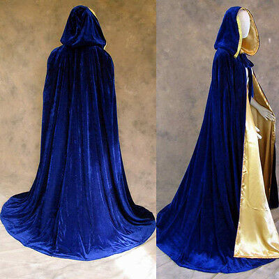 Lined Blue Velvet Gold Renaissance Medieval Cloak Cosplay Cape Wedding Wicca SCA