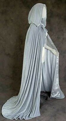 50 in Lined Grey Velvet Renaissance Medieval Cloak Cape Wedding Wicca LOTR LARP