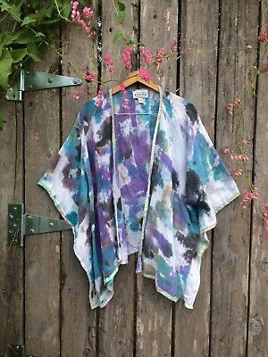 Artsy Vintage Handpainted Mexican Cotton Gauze Wrap~ XL 1X Hand Made Mexico