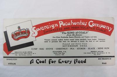 Vintage Blotter Advertising Sovereign Pocahontas Company  Roanoke VA