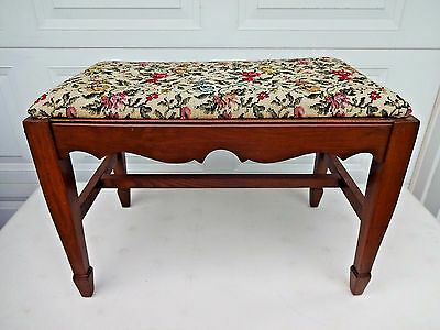 Vintage 4-Leg Wooden Padded Vanity Bench Furniture Piano Stool Chair Ottoman