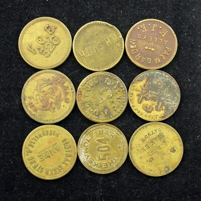 Vintage/Antique Brass Good For 5 Cents Trade Tokens Variety Lot, 9 Tokens