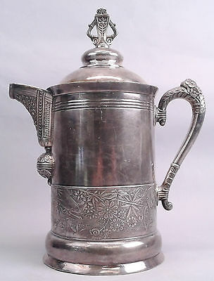 Antique Aesthetic Movement Silver Plate Water Pitcher Large Heron Crane Birds