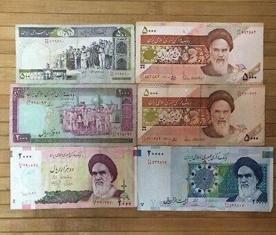 LOT of 6 Iran Rials Authentic Genuine Currency 500 2,000 5,000 20,000 Banknotes