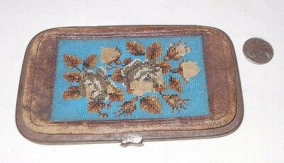 GREAT VTG ANTIQUE BEADED LEATHER WALLET CLUTCH Gold Billets (French Tickets?)
