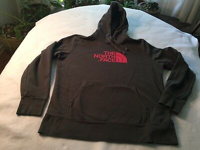 The North Face Men's XL Hooded Distressed Sweatshirt Hoodie Grey w/ Red