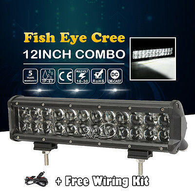 """CREE 168W 12""""inch LED Work Light Bar Spot Flood Offroad Fit For Jeep Ford Truck"""