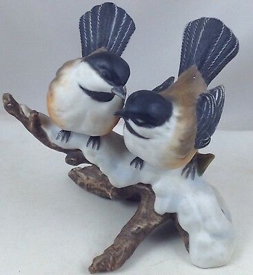 Chickadees  1991 Two Birds  Masterpiece Porcelain China Figure By Homco