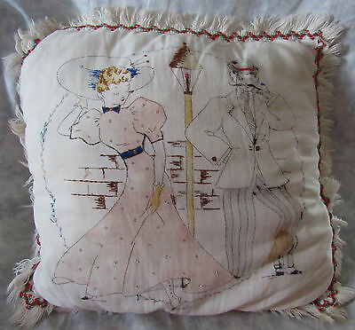Antique Victorian Pillow Lampost Woman & Man Era Dressed