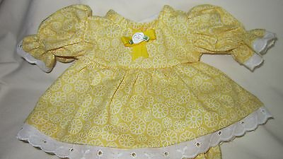 """Yellow Floral Print Dress/bloomers, fits 10"""" Lots to Love Berenguer babies"""