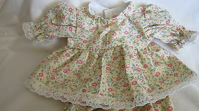 """Yellow/Coral Floral Print Dress/bloomers, fits 10"""" Lots to Love Berenguer babies"""