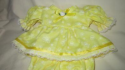 """Yellow Butterfly Print Dress/bloomers, fits 10"""" Lots to Love Berenguer babies"""