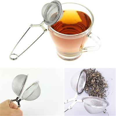 New Stainless Steel Spoon Tea Ball Herb Mesh Infuser Filter Squeeze Strainer LY