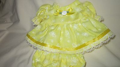 """Yellow Butterfly Print Dress/bloomers, fits 8"""" L'il Cutie Berenguer babies"""