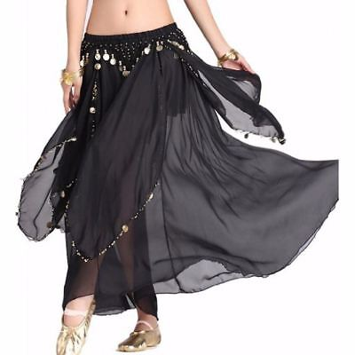 Chiffon Beaded Belly Dance Skirt Dancing Costume Outfit Festival Coins Skirt UK
