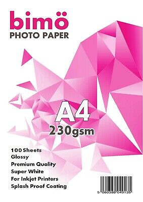 100 Sheets of Photo Paper A4 Glossy 230gsm for Inkjet Printers Premium Quality