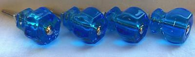 """12 Pack Glass Knobs Peacock Royal Ocean Blue Pull Depression Style 1-1/4"""""""