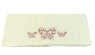 4 X Cream Embroidered Butterfly 100% Cotton Soft Absorbant Hand Towels 50 X 85Cm