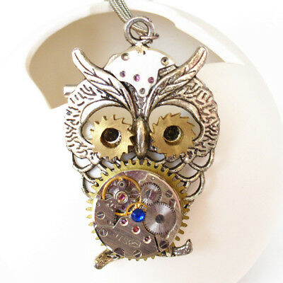 steampunk gothic punk owl watch clock parts copper gear necklace pendant jewelry