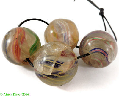 4 German Marble Glass Trade Beads Small African