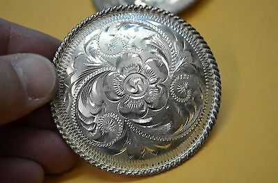 FLEMING STERLING SILVER Fine Hand Engraved Rosette Conchos for Headstalls Halter