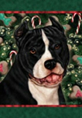 Large Indoor/Outdoor Holiday Flag - Black & White Amer. Pit Bull Terrier 14405