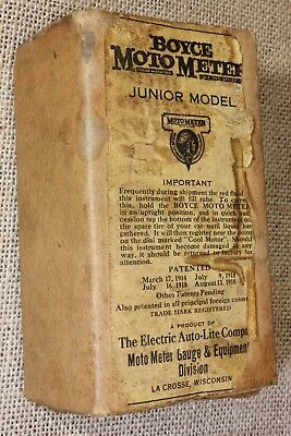 Boyce MotometerJunior Model shipping card board box ONLY old vintage 1914 PATENT