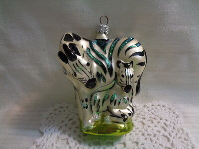 Made In Poland - Glass Ornament - Mama Zebra And Baby