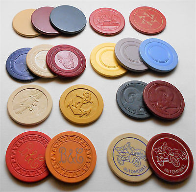 1940's-50's Poker Chip COLLECTION - Illinois ILLEGAL GAMBLING + MORE - lot of 19