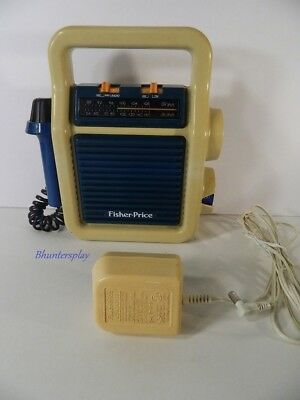 Vintage 1984 Fisher Price AM/FM Radio with Microphone 3805 w/ power cord WORKS