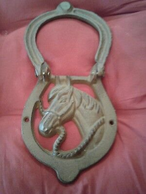 Cast Iron Antique Style Rustic HORSE HEAD Door Knocker Western Cowboy HORSESHOE