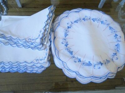 Antique Linen- Madeira ,leron?round Linen Embroidered Floral Placemats W/napkins