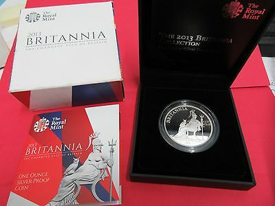 2013 Great Britain Britannia Silver Proof~2 Pound~1 Troy Oz .999~