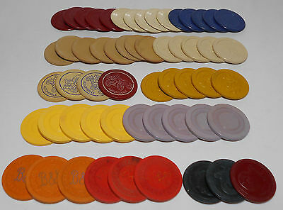 1940's-50's Poker Chip COLLECTION - Illinois ILLEGAL GAMBLING + MORE - lot of 56