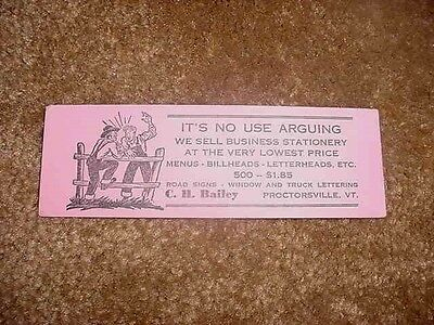 Vintage Advertising Blotter C. H. Bailey Proctorsville, Vt. Printers Menus Etc.