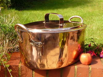 EARLY VICTORIAN COPPER KITCHEN TURBOT PAN & COVER with INTEGRAL DRAINER SHELF