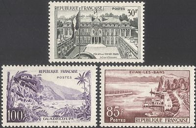France 1957 (1958) Tourism/Buildings/Architecture/Lake/Palm Trees 3v set  n45300