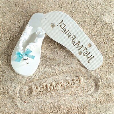 """Just Married"" Flip Flops Stamp Your Message in the Sand! Size 9/10"