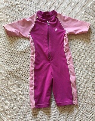 Coolibar Girls size Small 4/6 Pink Purple SS Swimsuit Rashguard UPF 50