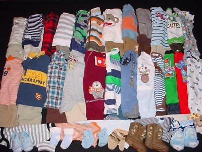 55 Pcs Used Baby Boy Newborn 0-3 3-6 Months Fall Winter Outfits Clothes Lot