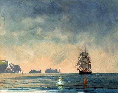ANTHONY FLEMING Original PAINTING c1970 SAILING SHIP PASSING THE NEEDLES