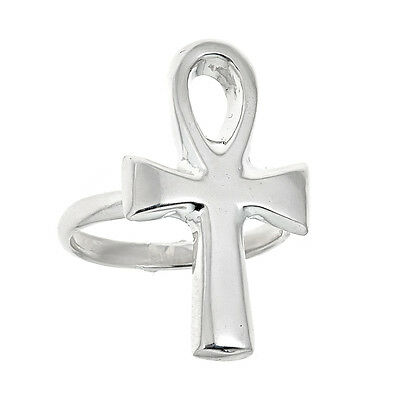 Egyptian Ankh Cross .925 Solid Sterling Silver Ring (5.5 grams)