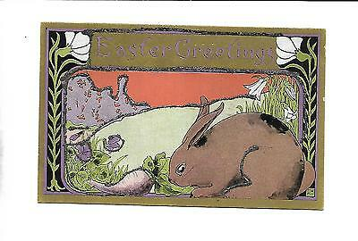 Art Deco Style Easter Postcard With Gilt & Glitter -- Signed With S In A Box