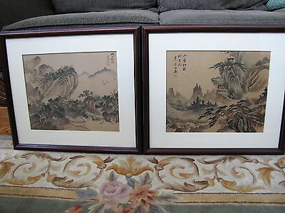 Set of 2 Chinese Watercolor Scenery